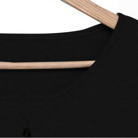New Casual Scoop Neck Lace Splicing Long Sleeve T-Shirt For Women - BLACK M Mobile