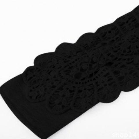 Store Casual Scoop Neck Lace Splicing Long Sleeve T-Shirt For Women - BLACK M Mobile