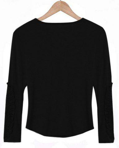Affordable Casual Scoop Neck Lace Splicing Long Sleeve T-Shirt For Women - BLACK M Mobile