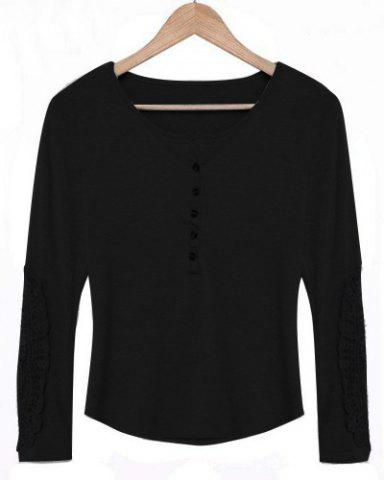 Latest Casual Scoop Neck Lace Splicing Long Sleeve T-Shirt For Women - BLACK M Mobile