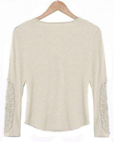 Store Casual Scoop Neck Lace Splicing Long Sleeve T-Shirt For Women - OFF-WHITE L Mobile