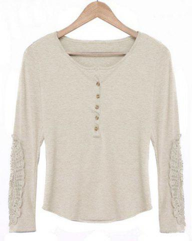 Fancy Casual Scoop Neck Lace Splicing Long Sleeve T-Shirt For Women - OFF-WHITE L Mobile