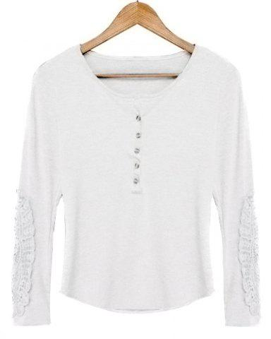 Latest Casual Scoop Neck Lace Splicing Long Sleeve T-Shirt For Women - WHITE L Mobile
