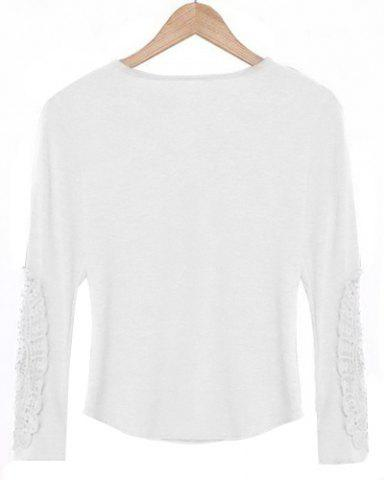 Affordable Casual Scoop Neck Lace Splicing Long Sleeve T-Shirt For Women - WHITE L Mobile