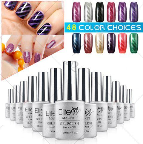 Unique Elite99 Soak Off Cat Eye 3D Nail Tip UV Gel Polish Nail Art Design 12ml - GLITTER GREYISH-GREEN  Mobile