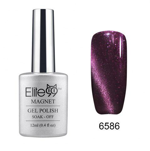 Unique Elite99 Soak Off Cat Eye 3D Nail Tip UV Gel Polish Nail Art Design 12ml - SHIMMER DARK PURPLE  Mobile
