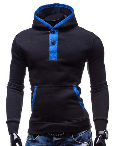 Online Fashion Hooded Color Splicing Button Design Slimming Long Sleeve Cotton Blend Hoodie For Men