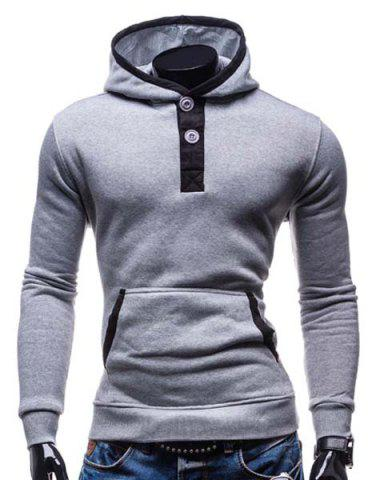 Fashion Fashion Hooded Color Splicing Button Design Slimming Long Sleeve Cotton Blend Hoodie For Men LIGHT GRAY M