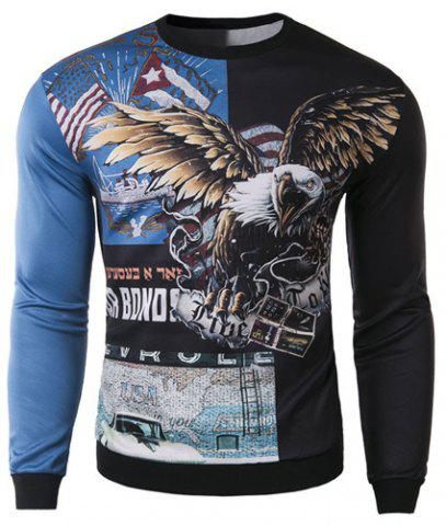Trendy Round Neck 3D Eagle Pattern Slimming Long Sleeve Cotton Blend Sweatshirt For Men