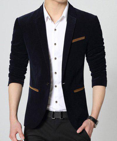 Modish Slimming Lapel Color Block Pocket Hemming Long Sleeve Velveteen Blazer For Men