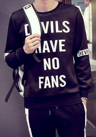 Fitted Round Neck Funny Letters Print Rib Spliced Long Sleeves Men's Pullover Sweatshirt - BLACK - L