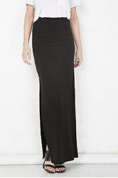Plus Zellie Maxi Skirt With Slit - BLACK