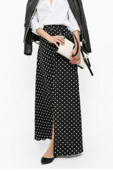 Polka Dot Maxi Skirt With Slit -