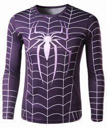 Trendy Round Neck 3D Spider-Man Print Slimming Long Sleeve Polyester Quick-Dry T-Shirt For Men -