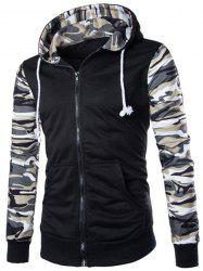 Classic Camo Spliced Rib Hem Color Block Slimming Hooded Long Sleeves Men's Fashion Hoodie -