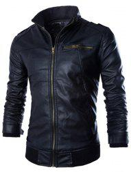 PU Leather Stand Collar Horizontal Zipper Epaulet Rib Spliced Long Sleeves Men's Slimming Jacket - BLACK
