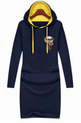 Preppy Style Hooded Letter Embroidered Long Sleeve Dress For Women -