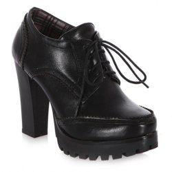Stylish Platform and Lace-Up Design Women's Ankle Boots - BLACK