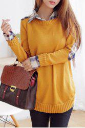 Stylish Long Sleeve Shirt Collar Checked Women's Sweater