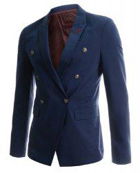 Fashion Lapel Double Breasted Sutures Design Slimming Long Sleeve Cotton Blend Blazer For Men -