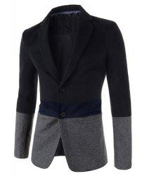 Trendy Lapel Multicolor Splicing Slimming Long Sleeve Cotton Blend Blazer For Men - GRAY