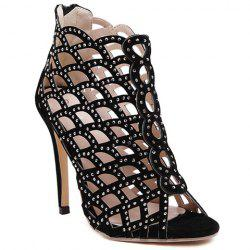 High Heel Caged Sandals with Rhinestones - BLACK