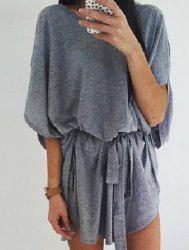 Casual Round Collar Gray Half Sleeve Dress For Women -