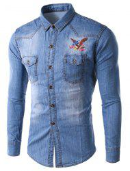 Trendy Slimming Shirt Collar Eagle Embroidered Long Sleeve Denim Jacket For Men - LIGHT BLUE