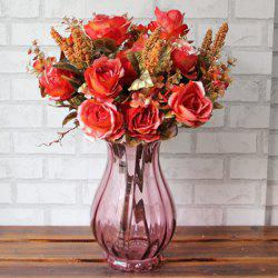 Un Bouquet de Luxury Living Room Decoration haute qualité Simulation Rose (Pas Vase) - Orange