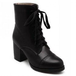 Concise Chunky Heel and Lace-Up Design Women's Boots -