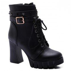 Punk Style Pentagram and Lace-Up Design Women's Boots - BLACK
