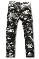 Slimming Fashion Camo Pattern Multi-Pocket Straight Leg Men's Cotton Blend Cargo Pants - GRAY