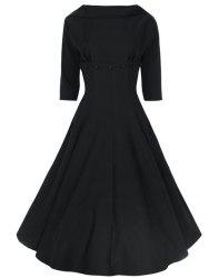 Vintage Stand-Up Collar Half Sleeve Pure Color Women's Dress - BLACK L