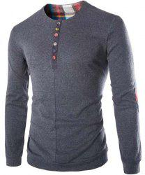 Fashion Slimming Round Neck Buttons Design Patched Splicing Long Sleeve Woolen Blend T-Shirt For Men -