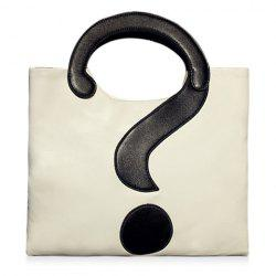 Stylish Question Mark and Color Block Design Women's Tote Bag -