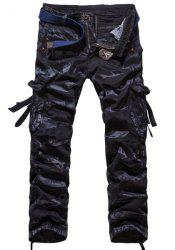 Loose Fit Modish Camo Pattern Multi-Pocket Straight Leg Men's Cotton Blend Cargo Pants -