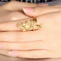 Luxury Solid Color Peacock Shape Adjustable Index Finger Ring - GOLDEN