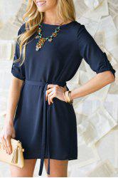 Elegant Solid Color Long Sleeve Waist Lace-Up Loose Dress For Women - PURPLISH BLUE S