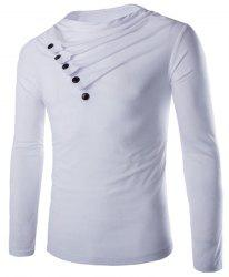 Modish Slimming Cowl Neck Solid Color Button Design Long Sleeve Polyester T-Shirt For Men - WHITE
