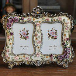 Modern Style Colored Two-Hole Artificial Rose Embellished Polyresin Picture Frame -