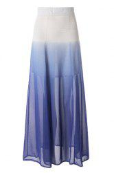 Ombre Color Flowy Chiffon Skirt - AS THE PICTURE
