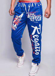 Loose Fit Fashion Lace-Up Sailing Print Rib Splicing Beam Feet Men's Polyester Sweatpants - SAPPHIRE BLUE