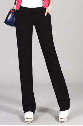 Stylish Elastic Waist Slimming Pocket Design Pants For Women -