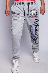 Loose Fit Fashion Drawstring Multicolor Letters Print Beam Feet Men's Polyester Jogger Pants - LIGHT GRAY