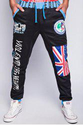 Loose Fit Trendy Lace-Up Flag and Badge Print Beam Feet Men's Polyester Sweatpants - BLACK