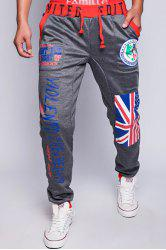 Loose Fit Trendy Lace-Up Flag and Badge Print Beam Feet Men's Polyester Sweatpants - DEEP GRAY M