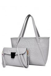 Fashionable Crocodile Print and Zipper Design Women's Shoulder Bag -