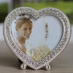 Simple Modern Style Heart Shape Rhinestone Cute Alloy Tabletop Picture Frame -