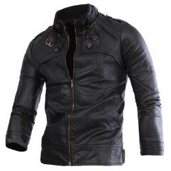Slimming Rib Spliced Button and Epaulet Design Stand Collar Long Sleeves Men's Locomotive PU Leather Jacket -