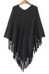 Chic V Neck 3/4 Sleeve Loose-Fitting Fringed Women's Sweater - BLACK